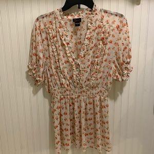 Torrid sheer floral ruffle trim peplum blouse